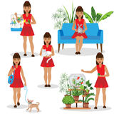 Girl with Pets. Set. A girl in red dress holding rabbit and cat, walks with the dog, feed the fish and budgies Royalty Free Stock Images