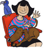 Girl with pets. Sitting girl with dog and parrot Stock Photos