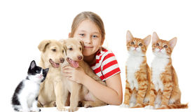 Girl and pets. On a white background Royalty Free Stock Photo