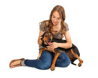 Girl Petting Crossbreed Dog Stock Photography