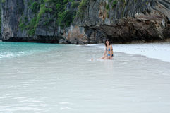 Girl on Phi Phi Island. Thailand Stock Image