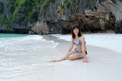 Girl on Phi Phi Island. Thailand Royalty Free Stock Photos