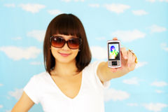 Girl with the phone Royalty Free Stock Photos