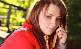 Girl with phone Stock Photos