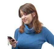 The girl with the phone Stock Image