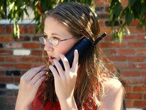 Girl on phone. Teenage girl talking on a cordless phone Stock Photography