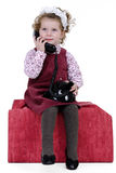 Girl at phone Royalty Free Stock Photo