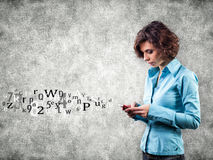Girl with phone. And letters flying forward Stock Photos