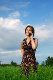 Girl with the phone stock image