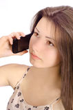 Girl on Phone. A beautiful girl on the cell phone Royalty Free Stock Photos