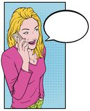 Girl With Phone. Beautiful young girl talking on a smartphone. Comics blonde and a telephone. Talking on the phone for text Bubble Stock Photos