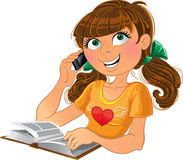 Girl and phone and book. Vector Girl and phone and book Royalty Free Stock Image