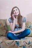 Girl on phone chatting Stock Photos