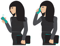 Girl phone. A dark haired girl taking a cell phone call Stock Photography
