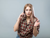 Girl with phone Royalty Free Stock Photos