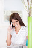 Girl on the phone at home Stock Images