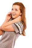 Girl on the phone looking happy Stock Photos