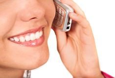 Girl on the phone - mouth close up Stock Images