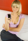 Girl phone number dials Stock Images