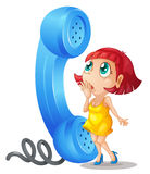 Girl and phone receiver. Illustration of a girl and phone receiver on a white background Stock Photos