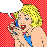 Girl phone talk joy Pop art vintage comic Royalty Free Stock Images