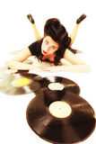 Girl with phonography analogue records music lover Royalty Free Stock Images