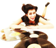 Girl with phonography analogue records music lover Stock Photo