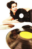 Girl with phonography analogue records music lover Royalty Free Stock Photography