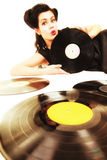 Girl with phonography analogue records music lover Stock Photography