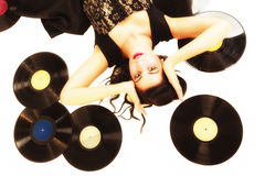 Girl with phonography analogue records music lover Stock Photos