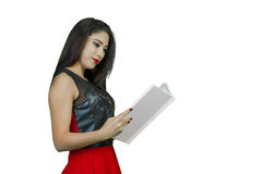 Girl with photo album Royalty Free Stock Photography