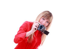 Girl with photo camera Royalty Free Stock Images