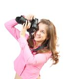 Girl with photocamera Royalty Free Stock Photo