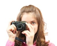 Girl with photocamera Stock Photos