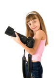 The girl - photographer. Is photographed on the white background Stock Image