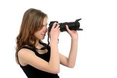 Girl photographer Stock Image