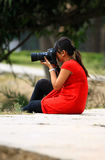 Girl photographer Stock Images