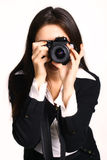 Girl photographer Stock Image