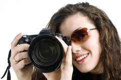 Girl-photographer. Is waiting for the shot stock photo