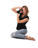 Girl photographer Stock Photography