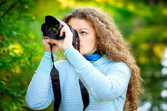 Girl-photographer Stock Photo