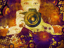 Photographer girl grunge illustration Royalty Free Stock Photography