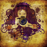 Photographer girl grunge illustration Royalty Free Stock Photos