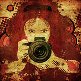 Photographer girl grunge illustration Stock Image