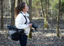 Girl photographer forest Royalty Free Stock Images