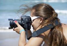 Girl photographer Stock Photo
