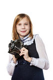 Girl photographer with retro camera. Isolated Stock Image