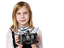 Girl photographer with retro camera. Isolated Stock Photography