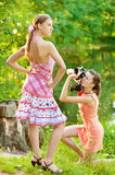 Girl photographer shoot model Royalty Free Stock Photo