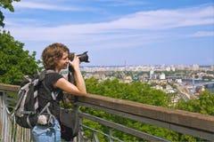 Girl Photographer Shooting Beautiful Scenery Royalty Free Stock Photography